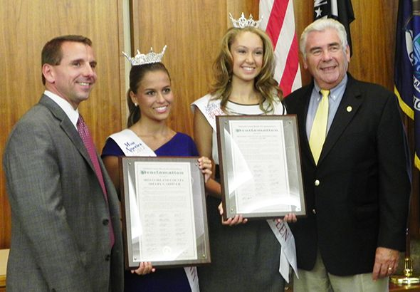 Pictured left to right: Oakland County Board Chair Michael J. Gingell, Miss Oakland County Shelby Gardiner, Miss Oakland County Outstanding Teen Vanessa Chambe, and Oakland County Commissioner John A. Scott.