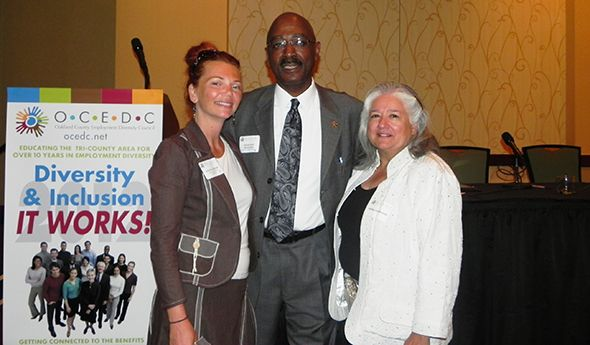 Pictured left to right at the 10th Annual Diversity Conference are Oakland County Commissioner Angela River, event speaker  Oakland University Director of the Department of the College Programs Reginald McCloud and Debra Ehrmann, VP of La Familia Multicultural Center at the Conference.