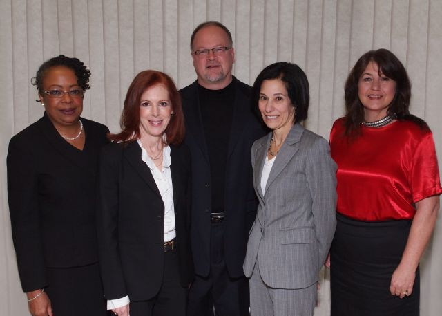 (left to right) Joan Glanton Howard, chief counsel of LAD's Civil Law Group; Miriam Siefer, chief counsel of LAD's Federal Defender Office; County Commissioner Jim Runestad, R-District 6; County Commissioner Helaine Zack, D-District 22; and Kelly L. Bidelman, managing attorney of the LAD's offices in Oakland and Macomb counties.