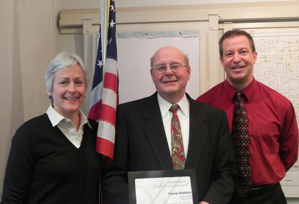 Pictured left to right are: Oakland County Human Resources Director Nancy Scarlett, Commissioner Thomas F. Middleton, and Oakland County Board of Commissioners' Administrator Jim VerPloeg.