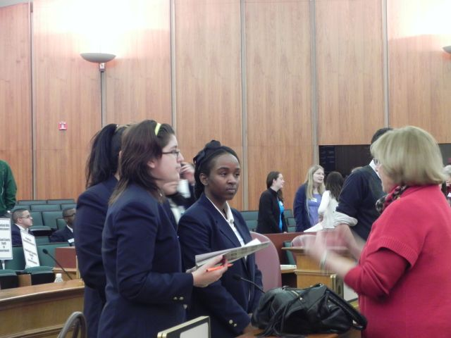 Commissioner Shelley Taub answers questions from students