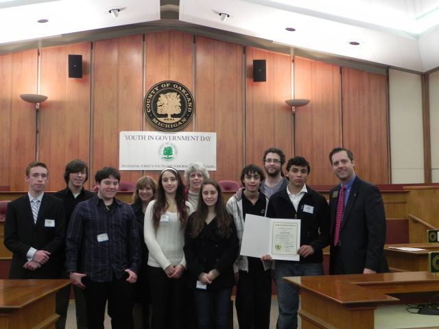 Students from Birmingham High School with Commissioners Marcia Gershenson and Jeff Matis.