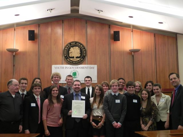 Milford High School students with Commissioners Bob Hoffman and Jeff Matis
