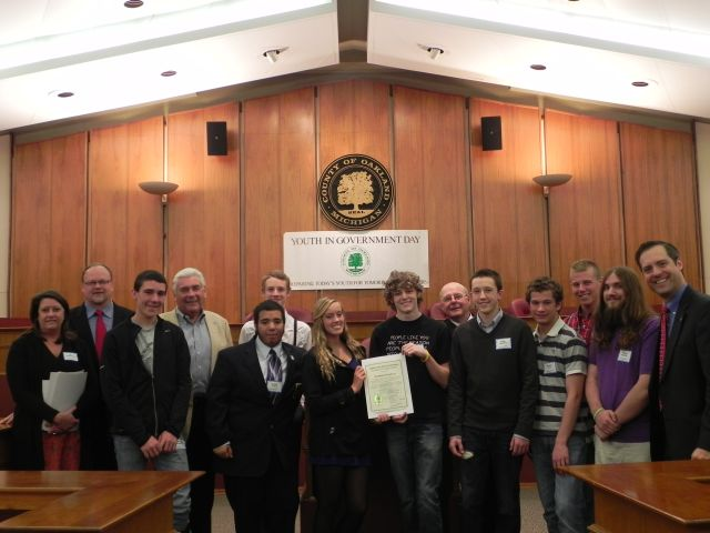 Waterford High School students with Commissioners Jim Runestad, Tom Middleton and Jeff Matis