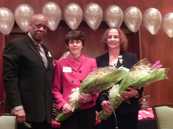 Oakland County Employment Diversity Council Chair Frank Russell, Commissioner Beth Nuccio and Kathleen O. Quinn