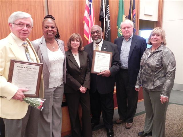 Pictured left to right: Reverend Richard Gleason of Franklin, who was a Freedom Rider;  Oakland County Commissioner Mattie McKinney Hatchett, Oakland County Commissioner Marcia Gershenson, Dr. Silas Norman, Jr., of Bloomfield Township, who was a leader in the Student Nonviolent Coordinating Committee (SNCC) and was a sit-in participant; Oakland County Commissioners David W. Potts and Shelley Goodman Taub.