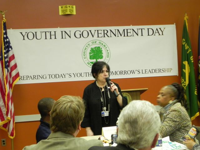 Oakland County Prosecutor Jessica Cooper speaks to students