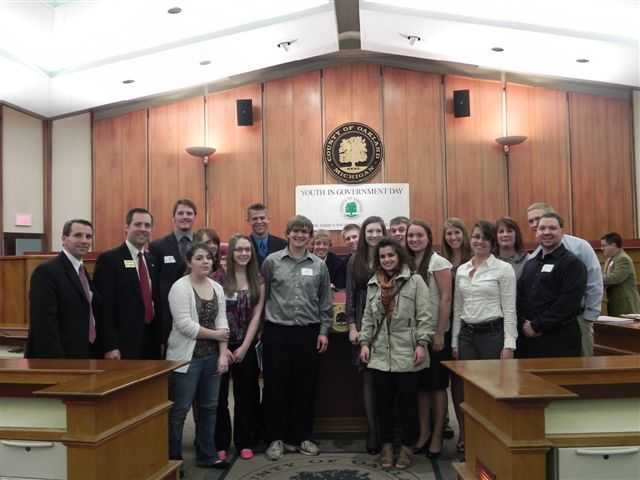 Milford High students with Commissioner Christine Long, Michael Gingell and Jeff Matis