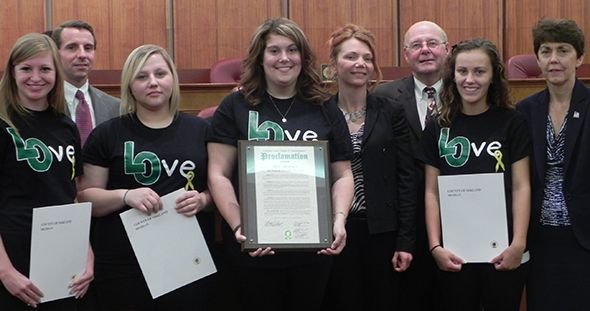 Pictured, left to right:  Lake Orion High School's Star Class member Beth G., Oakland County Chairman Michael J. Gingell, Star student Kelli G., Star Teacher Mrs. Cathy Srock, Commissioners Angela River and Thomas F. Middleton, Star Student Kandiss G. and Commissioner Beth Nuccio.