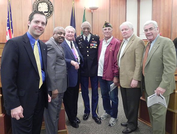 Pictured are (Left to Right) Oakland County Vice Chairman Jeff Matis, Alvin Wallace, Oakland County Executive L. Brooks Patterson, H. Bill Maxey, Tim Wirkus, Commissioners David W. Potts and John A. Scott.