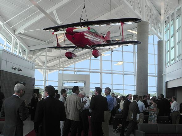 Attendees of the Oakland County International Airport Terminal dedication ceremony