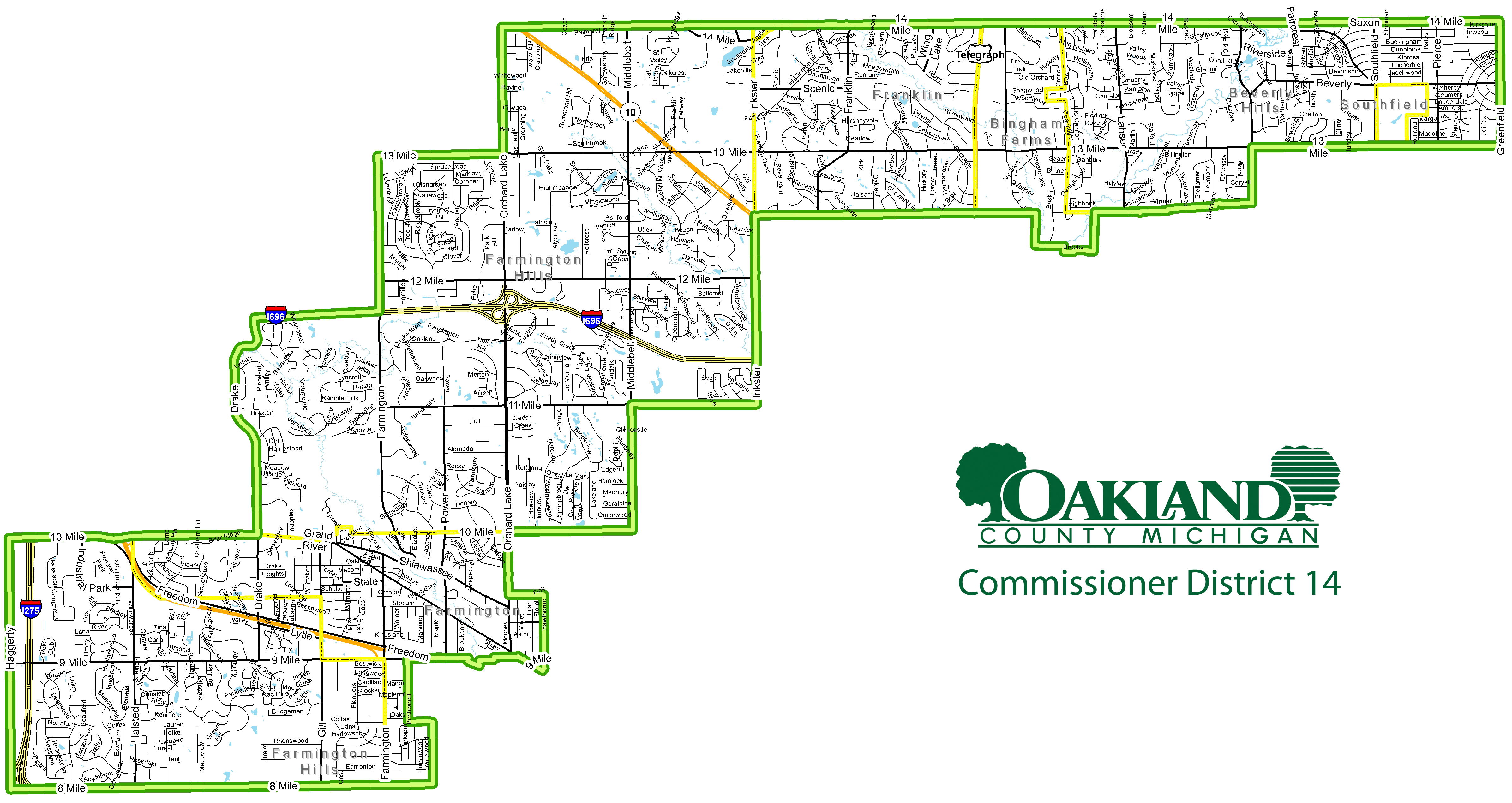 Street map of Commissioner District 14