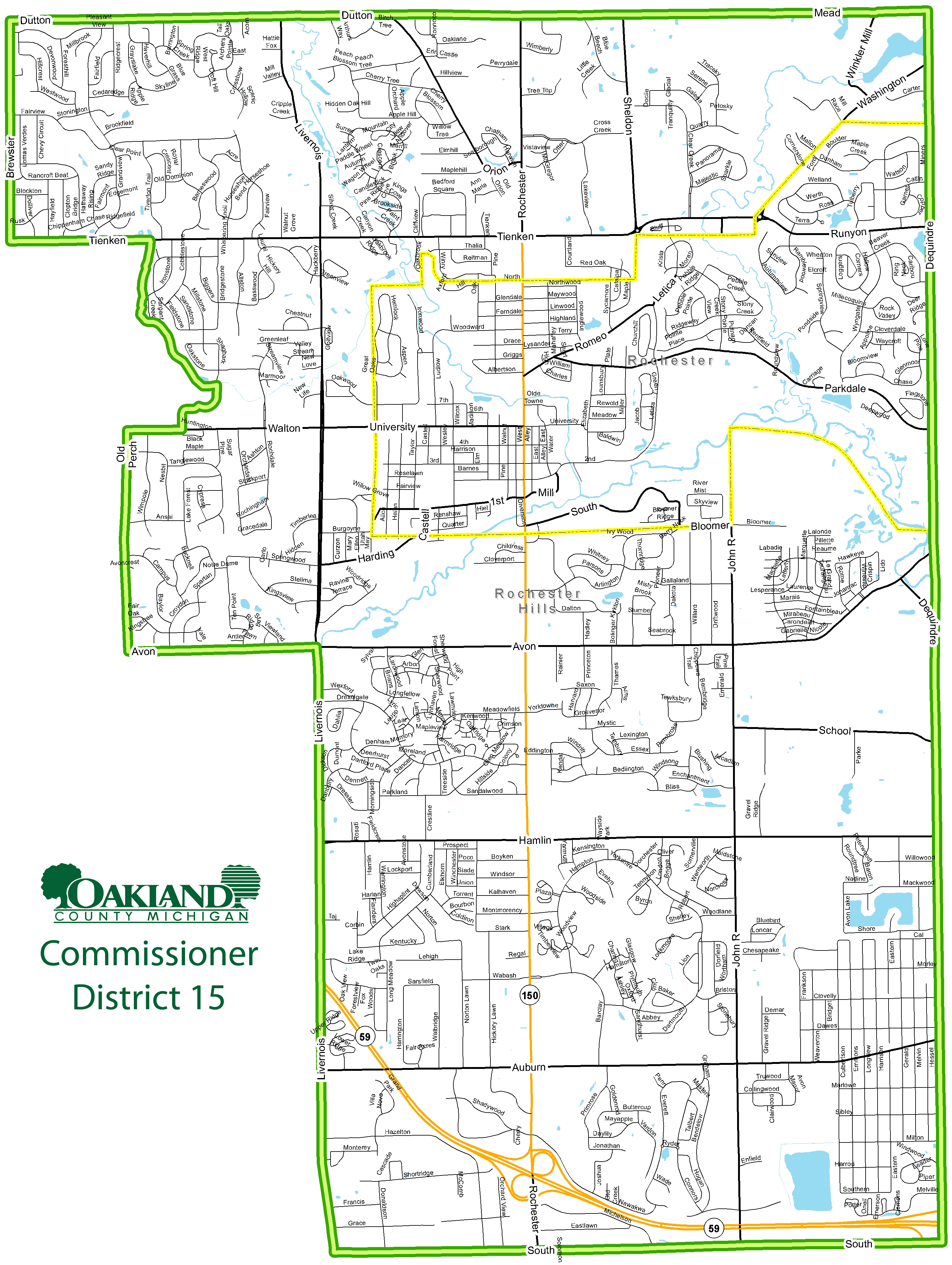 Street map of Commissioner District 15