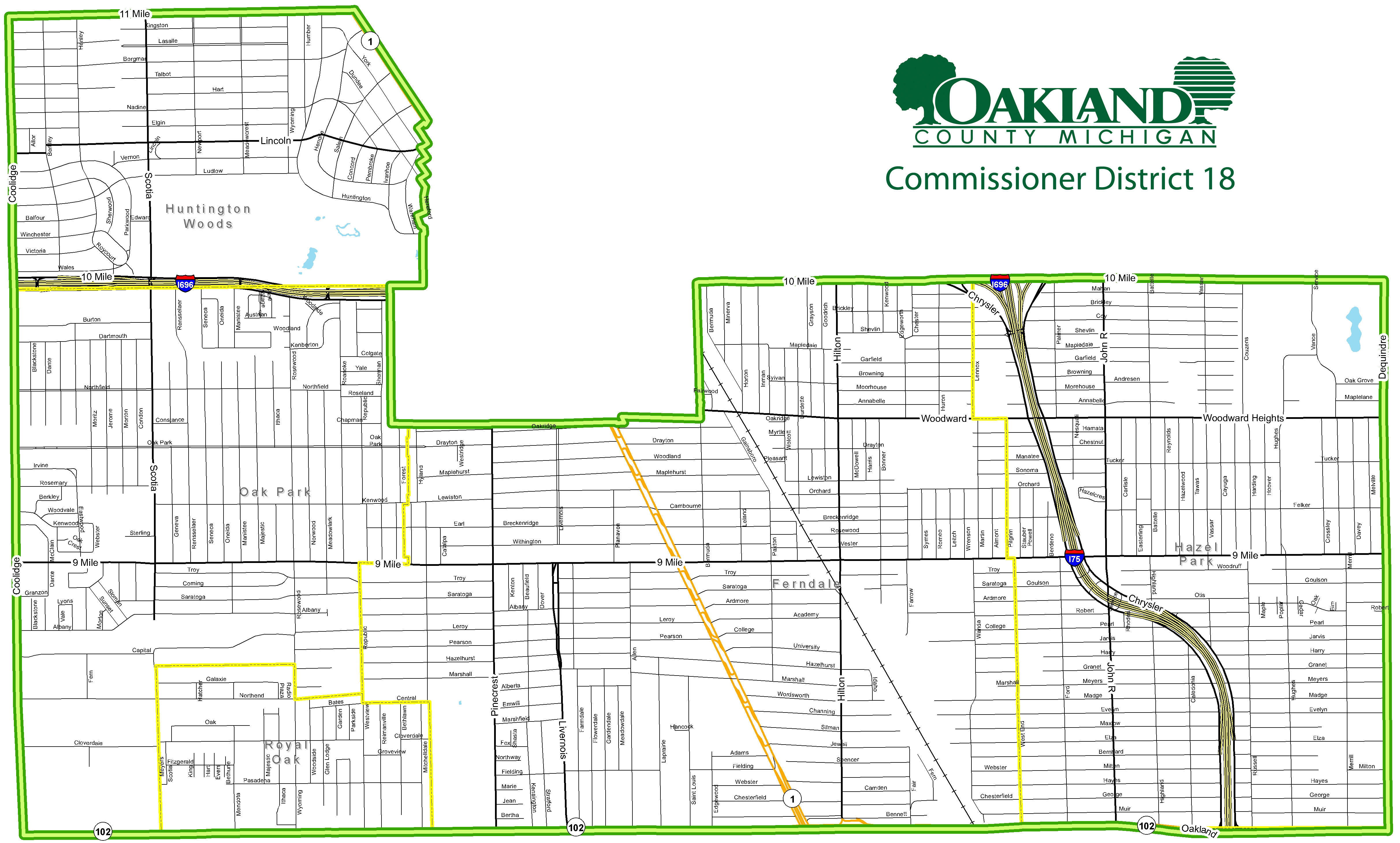 Street map of Commissioner District 18