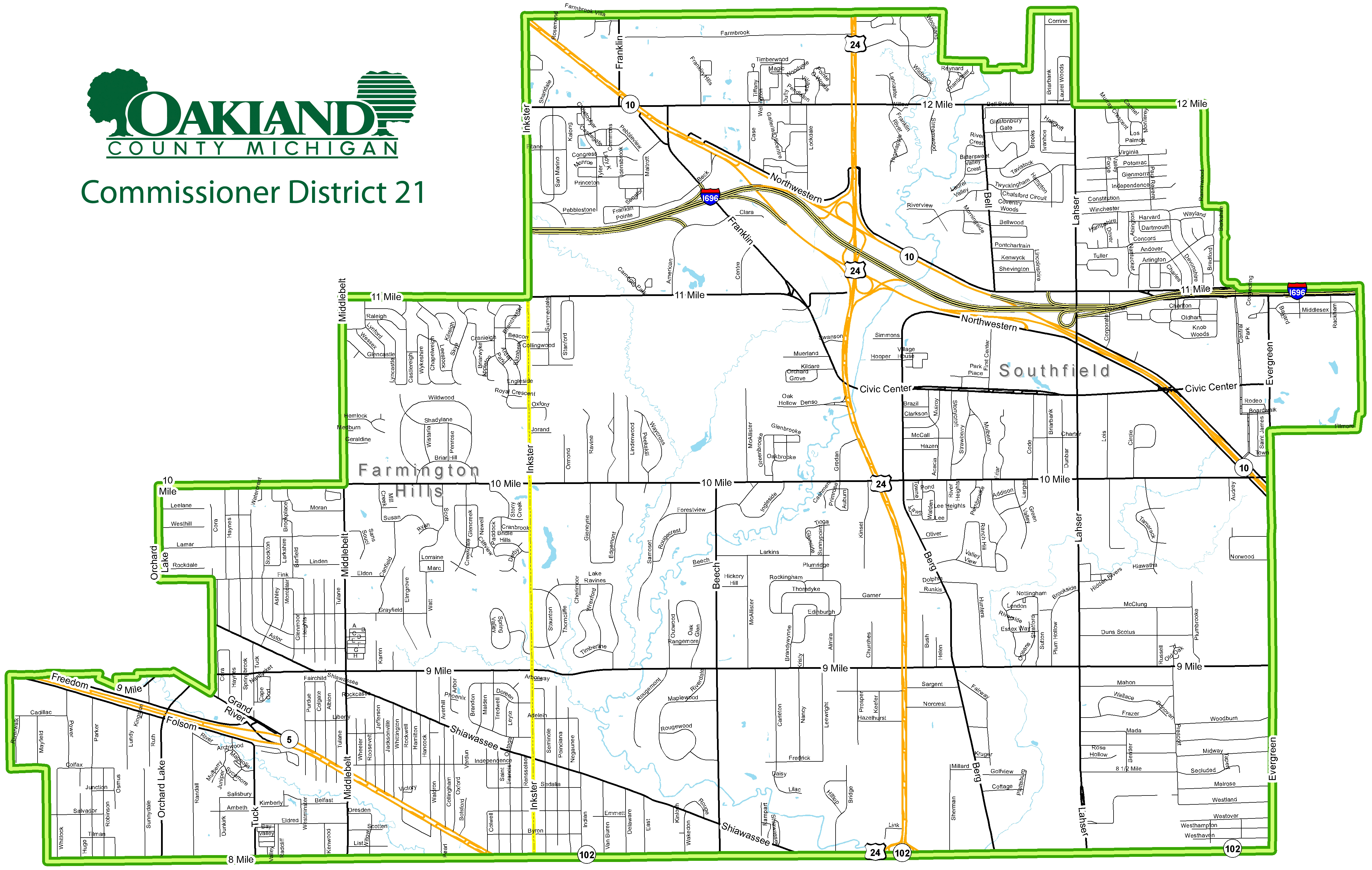 Street map of Commissioner District 21