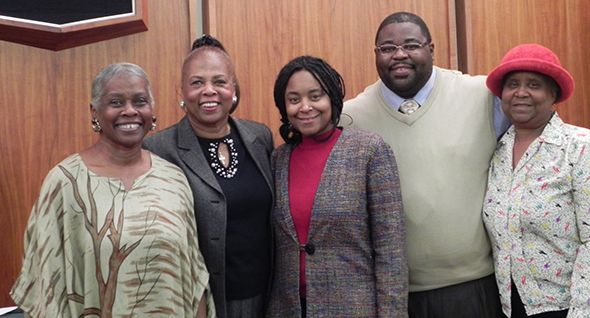 Commissioner Mattie Hatchett with Marian Pledger, Sonya LeDuff, Gil Garrett and Evelyn LeDuff