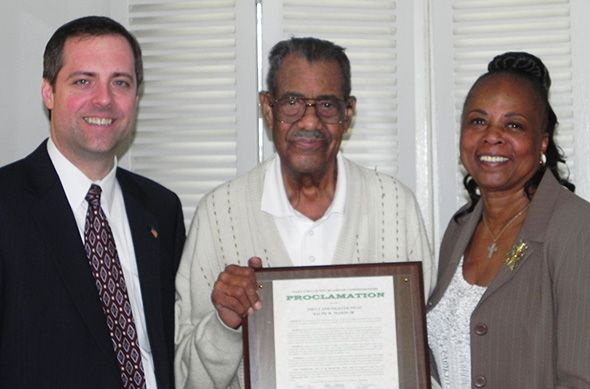 Pictured are: Oakland County Vice Chairman Jeff Matis, Tuskegee Airman 2nd LT. and Fighter Pilot Ralph Mason and Oakland County Commissioner Mattie McKinney Hatchett.