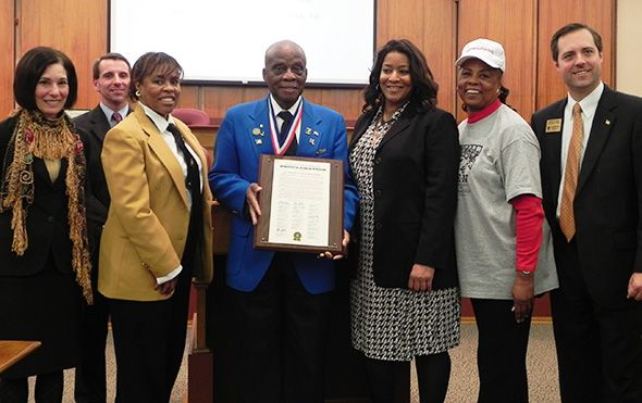 Pictured left to right: Oakland County Commissioner Janet Jackson, Board Chairman Michael J. Gingell, Lt. Colonel Washington D. Ross, Commissioner Janet Jackson, Mattie McKinney Hatchett and Board Vice Chairman Jeff Matis.