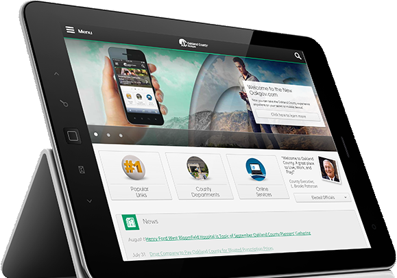 Home page displayed on a tablet.